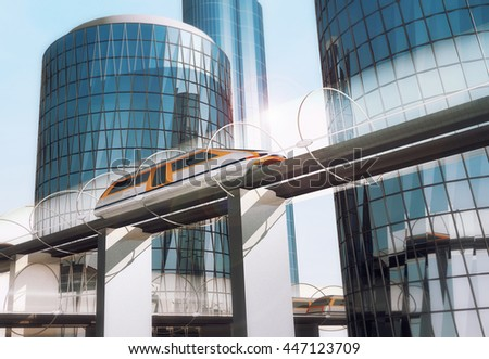 Concept of magnetic levitation train moving on the skyway across the city. Modern  transport. 3d rendering illustration.