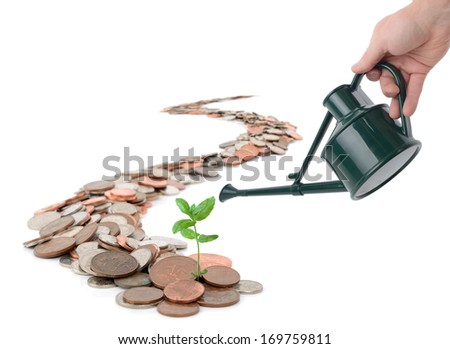 Concept of making you money grow, isolated on white - stock photo