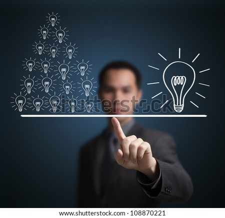 Concept of many small idea equal to one big idea. Express by balance weight on business man finger tip. - stock photo