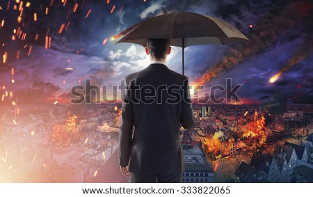 Concept of market disaster with falling meteorites - stock photo