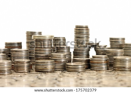 Concept of materialism - city made of coins, close-up - stock photo