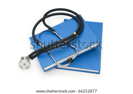 Concept of medical education with book and stethoscope - stock photo