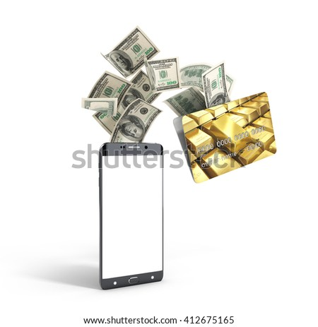concept of mobile banking money fly out the bank card into the phone 3d render - stock photo