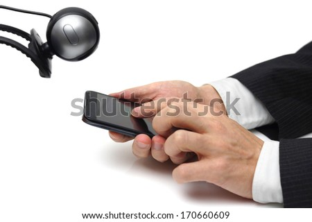 Concept of mobile phone surveillance   with camera  and mobile phone - stock photo