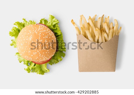 Concept of mock up burger and french fries on white background. Copy space for text and logo. Clipping Path included on white background. - stock photo