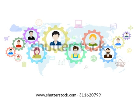 Concept of modern business and teamwork. Design background with