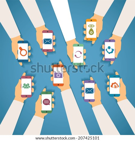 Concept of modern mobile wireless technolohy like messenger chat cloud storage mail gps photo social network and content search. Rasterized bitmap version. - stock photo