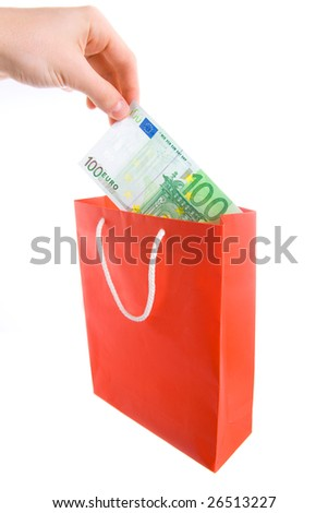 Concept of money in shopping bag. Isolated. - stock photo