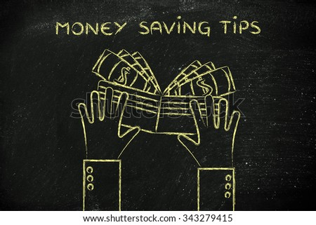 concept of money saving tips: hands holding a wallet with cash - stock photo