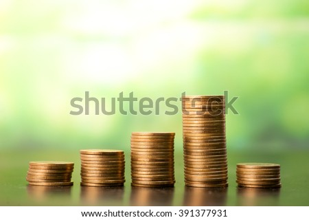 Concept of money tree growing from money,Saving money concept - stock photo