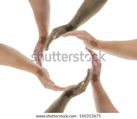 concept of multi nations working together - stock photo