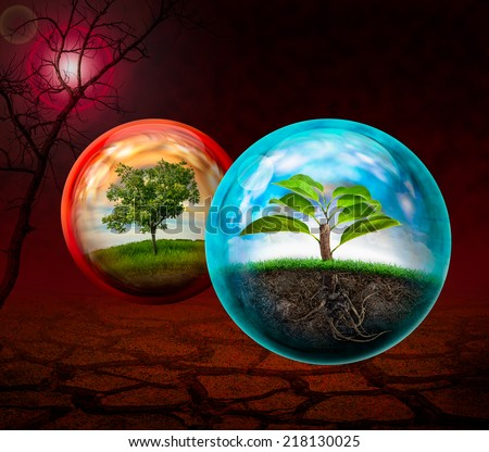Concept of natural conservation and save the world - stock photo