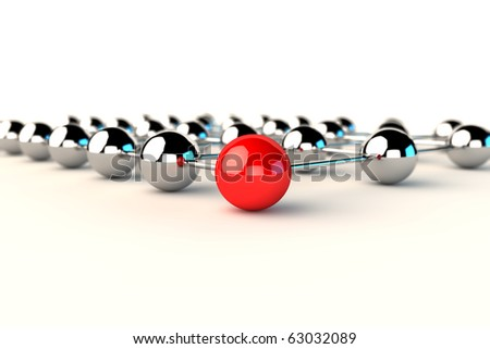 Concept of network connection and communication in 3d - stock photo