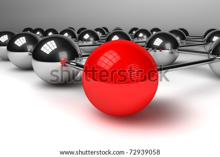Concept of network/connection and communication with spheres - stock photo