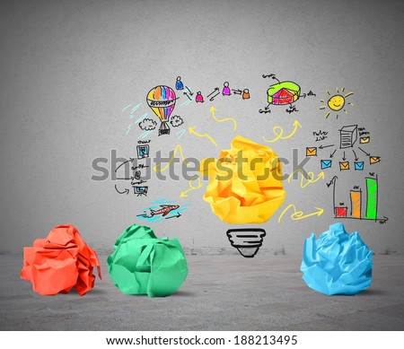 Concept of new idea and innovation concept - stock photo