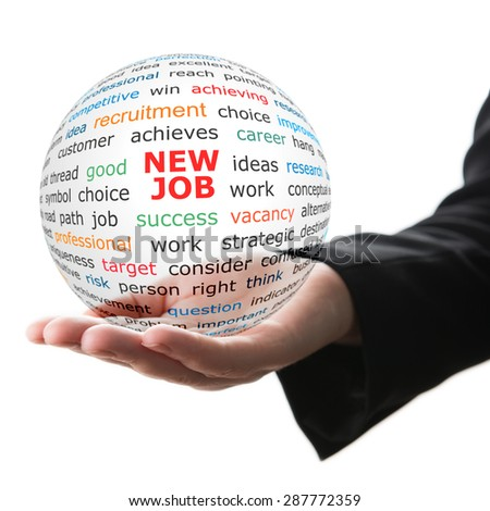 Concept of new job searching. Transparent ball with inscription new job in a hand. - stock photo
