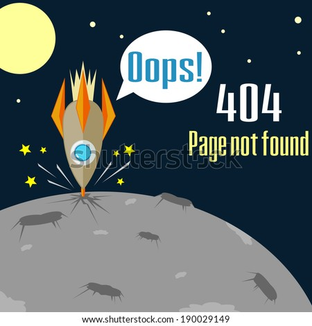 Concept of not found error message with crush of rocket - stock photo