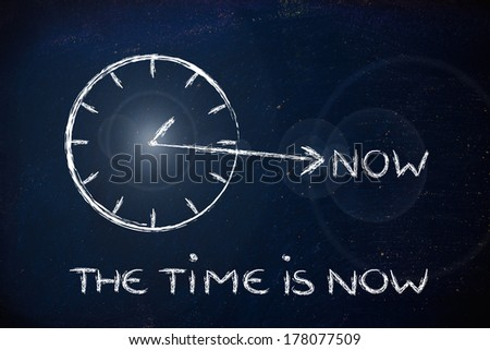 concept of not wasting time, clock with hand towards the writing Now - stock photo