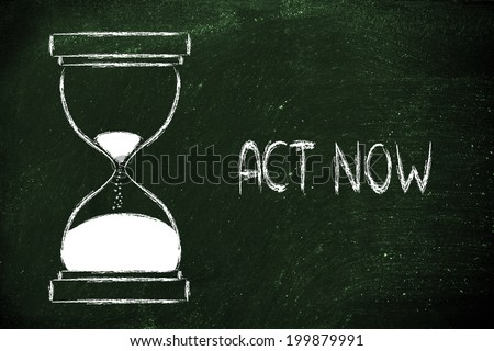 concept of not wasting time, hourglass time - stock photo
