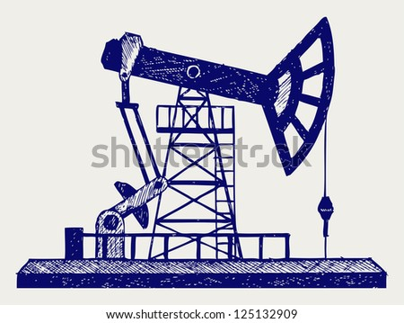 Concept of oil industry. Doodle style. Raster version - stock photo