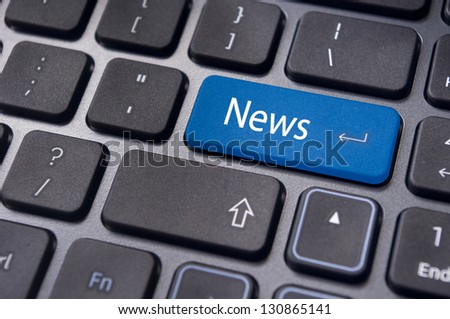 concept of online or internet news, with message on enter key of keyboard.