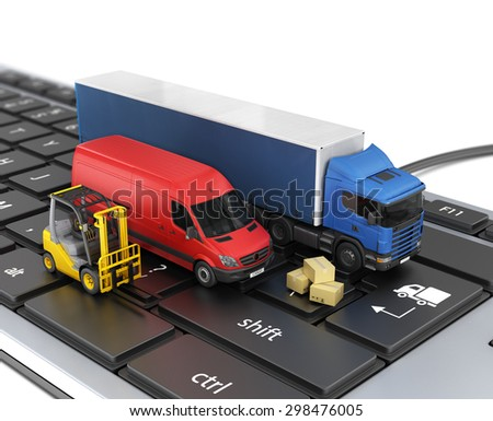 Concept of online order delivery. Delivery vehicles. - stock photo