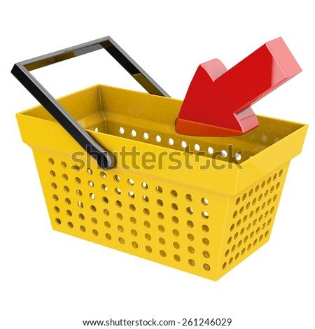 concept of online shopping with basket and arrow 3d rendering with clipping path - stock photo