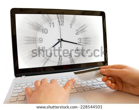 concept of online shopping with deadline - stock photo