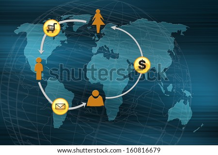 Concept of online transactions on the internet in business. - stock photo