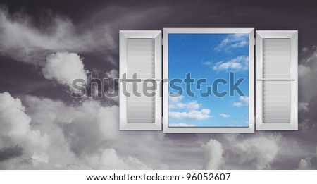 Concept of optimism with a window on the sky - stock photo