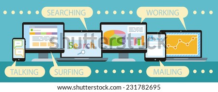 Concept of organisation business workflow through smartphone,laptop, digital tablet and computer. Raster version  - stock photo