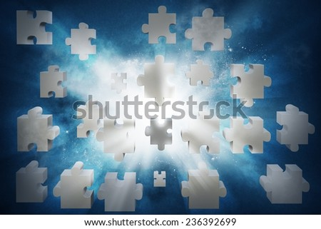 Concept of partnership and integration with puzzle - stock photo