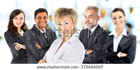 Concept of partnership and teamwork with businesspeople - stock photo