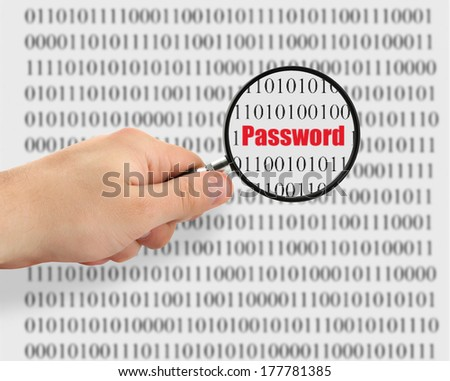 concept of password cracking, binary code in background is abstract - stock photo