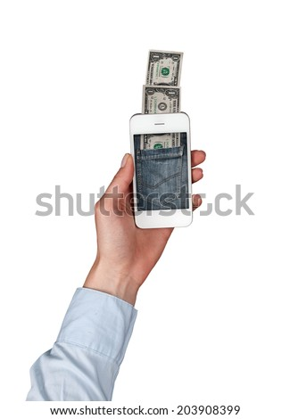 Concept of paying your phone - stock photo