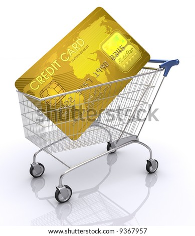 Concept of payment with credit card. Shopping cart with card inside. - stock photo