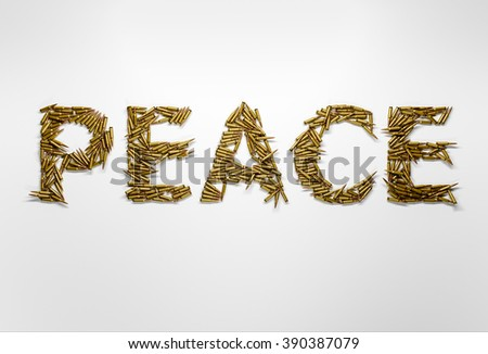 Concept of peace. Word Peace typed with font made of bullets on white background. - stock photo