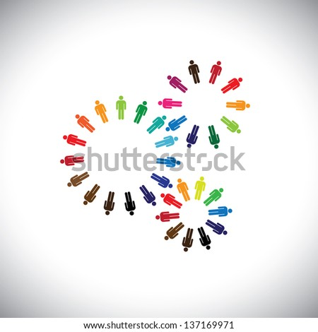 Concept of people as cogwheels representing communities & teams. This colorful graphic can represent concept teams interacting and collaborating with each other & also global social communities - stock photo