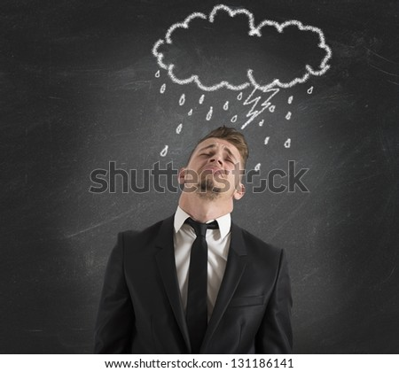 Concept of pessimist businessman for the crisis - stock photo
