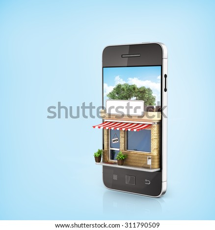 Concept of phone online store. Online store mobile flat design. Beautiful shop in the screen of phone. - stock photo