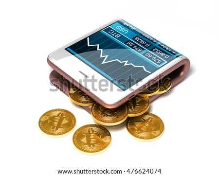 Concept Of Pink Digital Wallet And Bitcoins On White Background Gold Spill Out