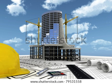 Concept of Planning, constructing and building a commercial building project - stock photo