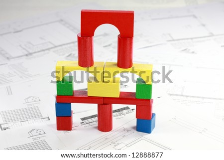 Concept of planning new family house - stock photo