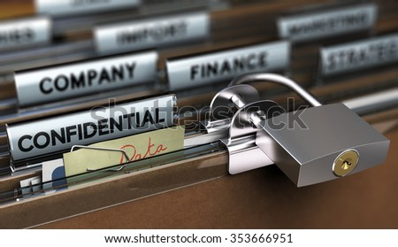 Concept of poor sensitive data protection, Folder secured with a simple padlock - stock photo