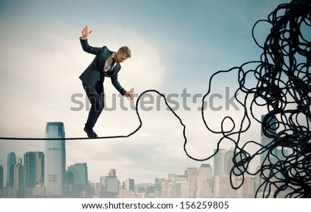 Concept of problem and difficulty of a businessman - stock photo