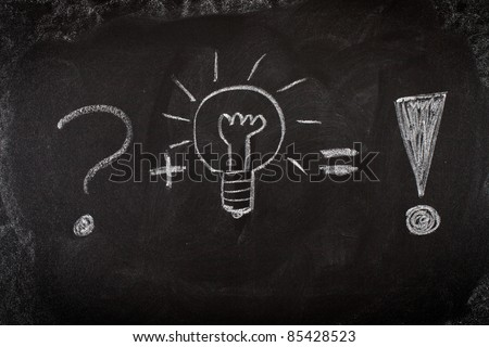 Concept of problem solving by good idea on blackboard - stock photo