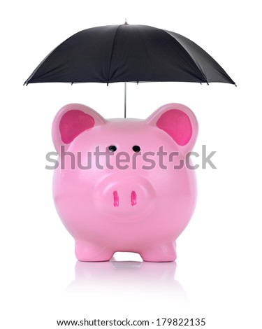 concept of protecting your money isolated on a white background