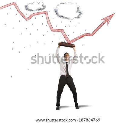 Concept of protection from crisis and negative statistics - stock photo