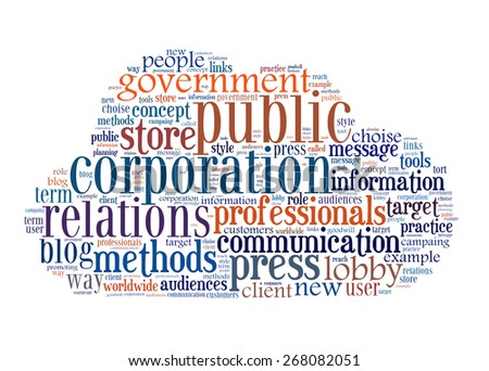 Concept of public relations, within a cloud words and tags - stock photo