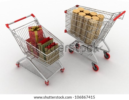 concept of purchase of commodities for money. Shopping cart with boxes and dollars. - stock photo